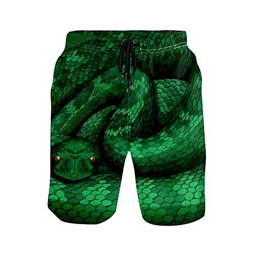 Pantalones cortos de natación para hombre, color verde serpiente de cascabel Python Beach Board traje de baño con bolsillos cintura ajustable S