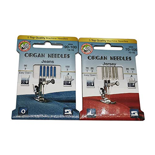 Best Deals! 10pcs Organ needles130/705H HAX1 130/705H-J Jeans Jersey Needles Mix 2PACKS