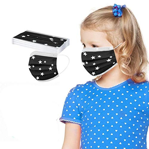 IRegina Niños De_Mascarilla_Desechable10/20/50/100 con Elástico para Los Oídos Alta calidad para eportes Al Aire Libre infantil de Dibujos Animados Escuela, Fiesta (Black, 10)