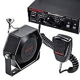 SoundAlert 12V 100W Police Siren PA System [Slim Speaker] [118-124dB] [Handheld Microphone] [Hands-Free] [2 x 20A Switches] Warning Emergency Siren for Vehicles Truck UTV ATV Car POV