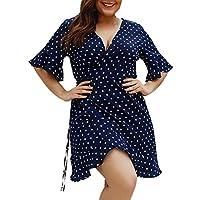 COZOCO Vestido Informal de Las Mujeres Vestido con Ola de Cuello Redondo Suelto Deportivo Vestido de Carnaval Vestido de Gran Tamaño de Vacaciones(Armada,XXXL)