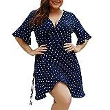 COZOCO Vestido Informal de Las Mujeres Vestido con Ola de Cuello Redondo Suelto Deportivo Vestido de Carnaval Vestido de Gran Tamaño de Vacaciones(Armada,XXXXL)