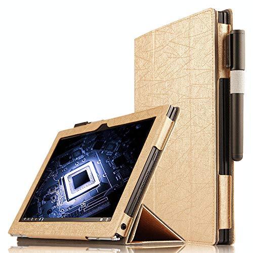 Cubierta Plegable de la Caja del Soporte del tirón de la Moda para Las Cajas de la Tableta de 10,1 Pulgadas de Lenovo Yoga Book-Oro