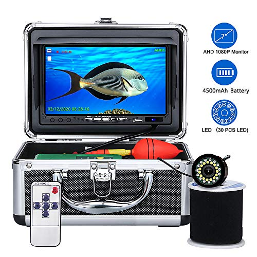 Underwater Fishing Camera,OKK 30 Adjustable IR and White LEDs with 7 inch 1080p HD IPS Colour Monitor Waterproof IP68 Underwater Viewing Fish Finder for Ice Fishing Lake, Boat, Sea, River(50ft 15M)