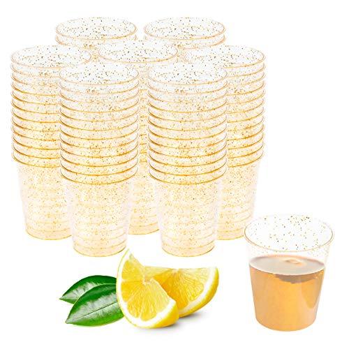 Matana 150 Vasos de Chupito de Plástico Duro con Brillo Dorado - 30ml