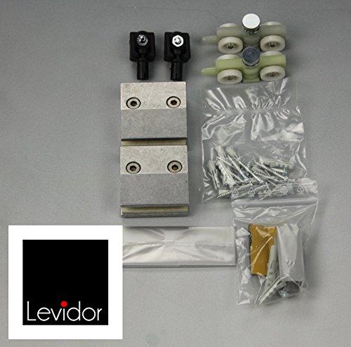 LEVIDOR ® Glasschiebetür Beschlag Zubehörset für Schienensystem vom deutschen Hersteller Levidor für das System EasySlide. Stopper, Laufwagen, Klemmbacken, Bodenführung und Stirnabdeckungen für Glasschiebetür-System. Lieferung: 2 Sets für 2 Anlagen oder eine Zweiflügelige-Anlage