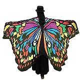 WEXCV Damen Schmetterling Kostüm Schmetterling Flügel Schal Pfau Nymphe Pixie Zubehör Erwachsene Schmetterlingsflügel Poncho Umhang Karneval Fasching Cosplay Tanzkostüm 197 * 125CM