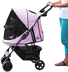 Side view of a pink Happy Trails pet stroller