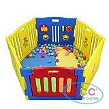 Mcc Corralito de plástico para infantil para niños con 6 paneles, barrera...