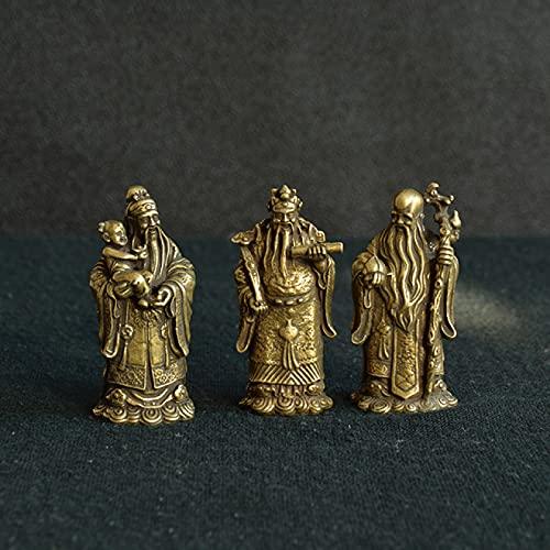 NYSJLONG Adornos Taoísmo de Bronce Antiguo Tres Dioses de la bendición Riqueza Estatua de la longevidad Figuras de Buda de Cobre Puro Adornos Feng Shui Decoración para el hogar