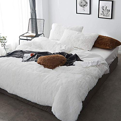 Bed Accessories for Bedroom Duvet Cover Set Double Bedding Sets Double Size White Duvet Cover Double Bed Twin Set Bear Fleece Warm Cozy Bedding Bedroom Soft Warm 4 Pcs Quilt Cover Sets Flat Sheet