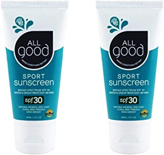 All Good Sport Sunscreen Lotion - Zinc Oxide - Coral Reef Safe - Water Resistant - UVA/UVB Broad Spectrum - SPF 30 (3 oz)(2-Pack)