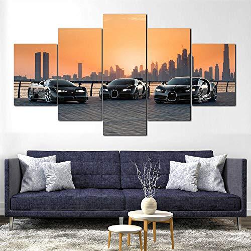 VKEXVDR Reunir Coches de Dubai 5 Panel Lámina del Paisaje del Arte impresión en Lona Cuadros de la Pared de la Foto,para el hogar decoración Moderna impresión