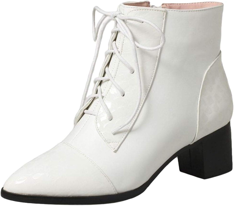 AicciAizzi Women Fashion Block Heel Short Boots Zipper