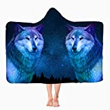 Wolf Hooded Blanket, Anti-Pilling Flannel Wearable Hooded Throw Blanket, Super Soft Warm Hoodie Cape Wrap Blanket for Children and Adult's Gift Indoors or Outdoors All Season. (Wolf, 50' x 60' in)