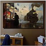 HYFBH Zug Dampflok Ölgemälde Leinwanddruck Wandbilder