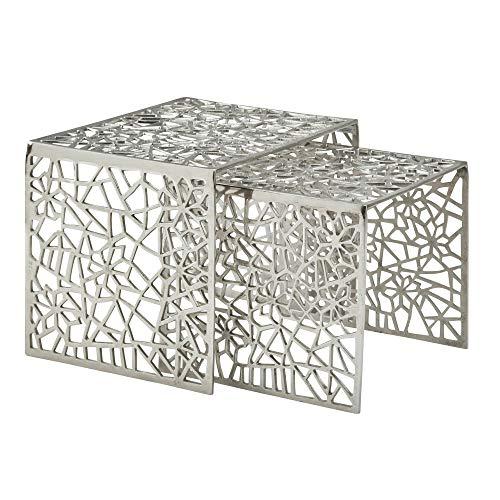 FineBuy Design Couchtisch Silber 2er Set Aluminium Wohnzimmertisch Eckig | Beistelltisch-Set AST-Struktur Metall Zweiteilig | Tischset Satztisch Modern