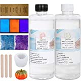 Resin Epoxy for Art - 16 oz Clear Casting for Halloween Jewelry Making Kit, Crafts - Pumpkin Molds, Glitter, Luminous Powder and Sandpaper