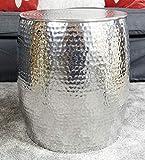 Couchtisch Wohnzimmertisch Sofatisch Beistelltisch Tisch aus Metall, Hammerschlag Orient Aluminium Rund Silber 47 cm