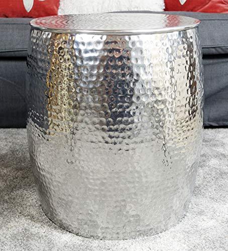 Couchtisch Modern, Wohnzimmertisch Sofatisch Beistelltisch Tisch aus Metall, Hammerschlag Orient Aluminium Rund Silber Luxus 47 cm