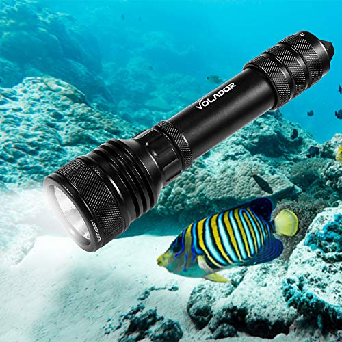 Tauchlampe, Volador Dive Lamp, 2000 Lumens Underwater 150m Underwater Torch, Waterproof Flash Lights With 2x18650 Battery and Charger