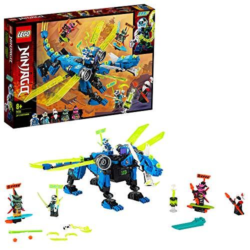 LEGO 71711 NINJAGO Jays Cyber-Drache Mech, Bauset mit den Minifiguren Jay, Nya und Unagami