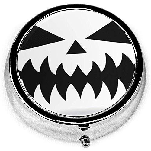 Runder Pillenkoffer mit 3 Fächern; Reise-Pillen-Kasten-furchtsames Halloween-Kürbis-Gesichts-Vektor-Design oder Monster-Mund