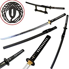 "Classic Handmade Razor Sharp Samurai Katana Sword This is the same Samurai Sword from the same swordsmith work shop as other higher priced ones with a fancy Japanese name. Comes with a 3 piece wood Single Sword Stand measuring 15"" wide 6.5"" tall 40"" ..."