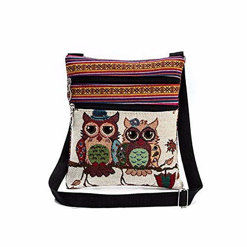 Casual Ladies Girls Embroidered Owl Print Tote Bags Women Zipper Shoulder Bag Handbags Postman Package Shoulder Bags (A)