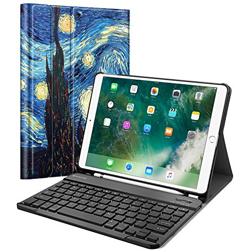 Fintie Keyboard Case for iPad Air 3rd Gen 10.5' 2019 / iPad Pro 10.5' 2017 - SlimShell Stand Protective Cover w/Magnetically Detachable Wireless Bluetooth Keyboard and Pencil Holder, Starry Night