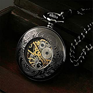 Mens Pocket Watch Double Engraved Dial Skeleton Mechanical Pocket Watch with Steampunk Roman Numerals for Men