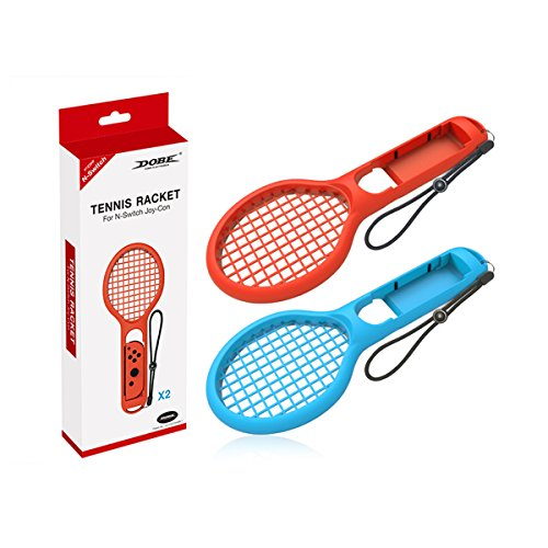 Finera Tennis Racket Compatible with Nintend Switch, Twin Pack Tennis Racket Compatible with N-Switch Joy-Con Controllers Compatible with Mario Tennis Aces Games