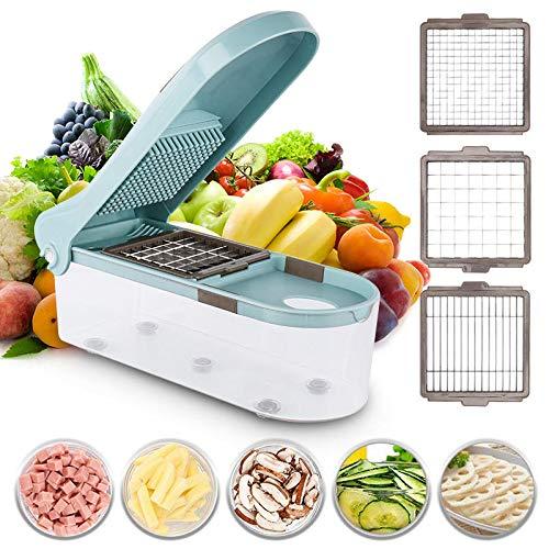 MNAD Cortador de verduras multifuncional para cortador de alimentos ajustable con 3 cuchillas herramienta de cocina (color azul)
