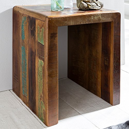 FineBuy Beistelltisch KALKUTTA 45 x 40 x 55 cm | Massivholz Couchtisch Wohnzimmer Tisch | Nachttisch Schlafzimmer Nachtkonsole Shabby-Chic | Nachtkästchen Massiv