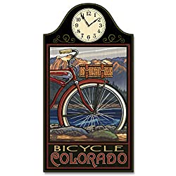 Northwest Art Mall Bicycle Colorado Fat Tire Bike Wood Wall Clock for Home & Office from Original Travel Artwork by Artist Paul A. Lanquist 12 x 18 with 5 Clock Face.