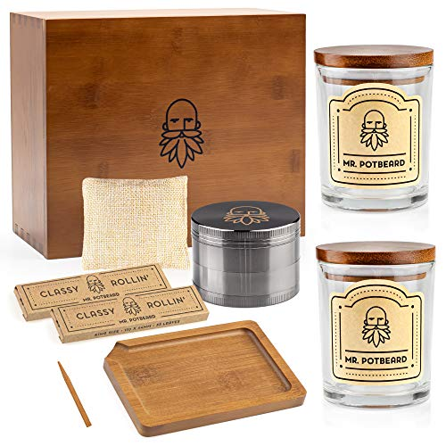 MR. POTBEARD Stash Box Kit with Herb Grinder, Odor Absorber, Airtight Containers, Poking Tool and Rolling Tray - Bamboo Secret Box - Organizer and Accessories - Includes 2 x Smell Proof Jars