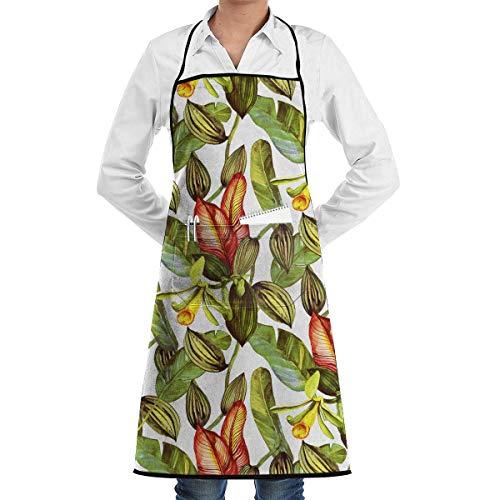 Vanille Orchidee und Bananenblätter Schürze mit Taschen für Grill BBQ Küche Kochen Künstler Malerei Männer und Frauen