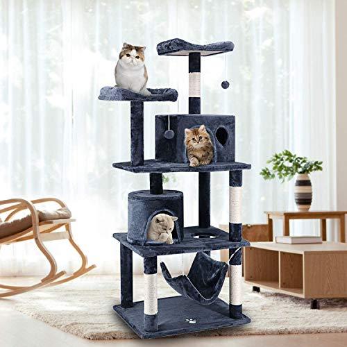ScratchMe PTFURNTREE4P57GREYVGE Stabiler Sisal-Kratzstangen, Cat Tree Tower mit Hängematte und Kratzbaum,einem Korb und 2 Häuschen, Kletterbaum für Katzen, Dunkelblau,60× 50.8× 150 cm, 50,8