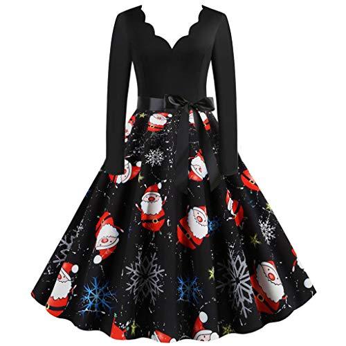 GATIK Damen Weihnachtskleider Vintage Langarm 1950er Jahre Hausfrau Abend Party Abendkleid Damen Bow Knot V-Ausschnitt Swing Aline Knielange Kleider(3XL,Schwarz-5)