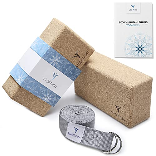 yogimisa Yogabox - Juego de 2 bloques de yoga (incluye instrucciones y ejemplos de ejercicios, bloque de yoga de corcho, incluye correa de yoga, bloques de yoga para yoga y pilates, fabricado en la UE