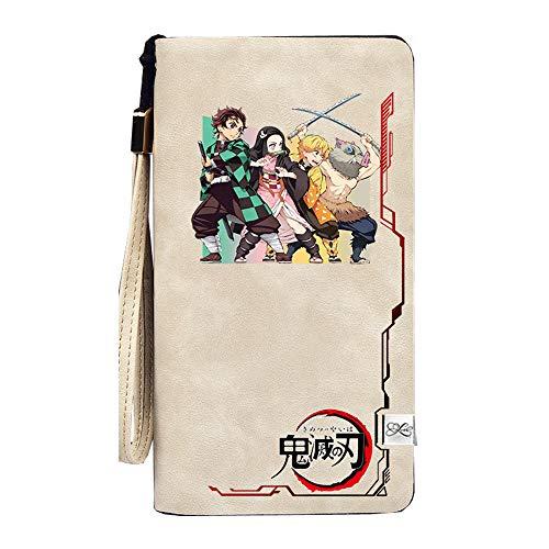 Demon Slayer Kimetsu no Yaiba - Hucha de anime para monedas largas Kamado Tanjirou Pu de piel corto portafolios para mujer Carteira teléfono embrague, 6, Corto