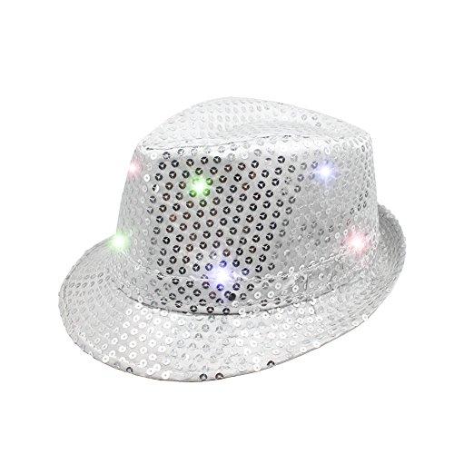 Namsan Fedora-Partyhut mit 9 blinkenden und farbenfrohen LEDs, mit Pailletten besetzt, damen, silber