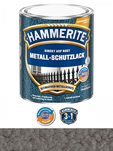 750 ml Hammerite Direkt auf Rost Metall-Schutzlack Dunkelgrau, Hammerschlag