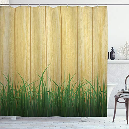 ABAKUHAUS Zaun Duschvorhang, Grasses Front of Plank Blick, Waserdichter Stoff mit 12 Haken Set Dekorativer Farbfest Bakterie Resistet, 175x200 cm, Sand Braun & Khaki