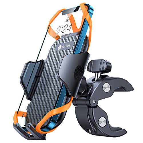 Andobil Bike Phone Mount,【Super Stable & Anti Shake】 Universal Motorcycle Bicycle Handlebar Cell Phone Holder Compatible with iPhone 12 12 Mini 12 Pro Max 11 SE Xs X 8 7 6 Galaxy S20 Note20 and More