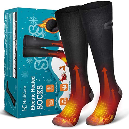 HailiCare Heated Socks for Men Women Rechargeable Electric Socks 4000mAh Battery Washable Heating Socks, 3 Heating Settings Thermal Sock Winter Warm Cotton Socks for Outdoor Hiking Skiing Camping (L)