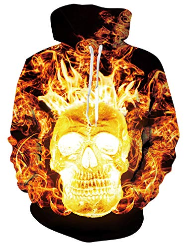 3D Fire Skull Pullover Hoodie for Men Women Casual Unique Fire Long Sleeve Classic Hooded Pullover Sweatshirt Sport Shirt XL