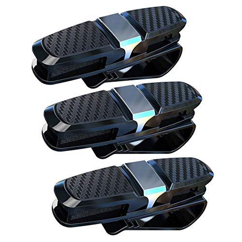 JZK 3 x Brillenhalter für Auto Sonnenblende, Auto Brillenhalterung Sonnenbrillenhalterung Sonnenblende-Clip für Brille Schutzbrille Lesebrille Kreditkarte