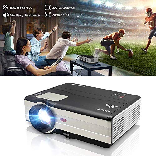 "HD Movie Projector 1080p Outdoor Indoor 3500 Lumens, 200"" Video Projector Full HD 1280x800, Home Theater Projector Dual HDMI USB for Laptop iPhone Smartphone Mac Game with Speaker 50,000hrs Led Lamp"