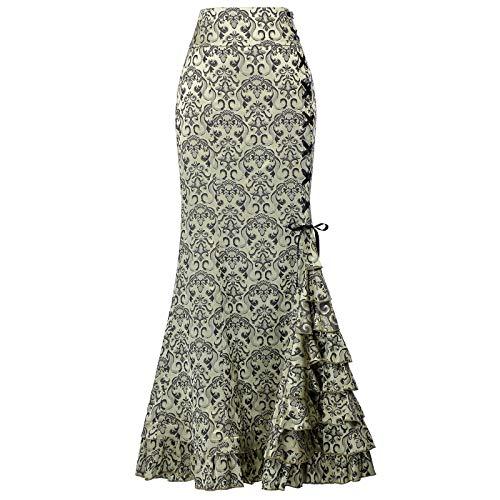 Vintage Falda de la Vendimia Jacquard de Las Señoras Rockabilly Flamenco Danza Talla 44 BP204-3